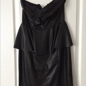 Olivaceous Black faux leather peplum dress sz med